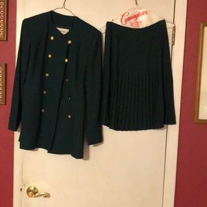 Forest green Albert Nippn jacket and skirt.